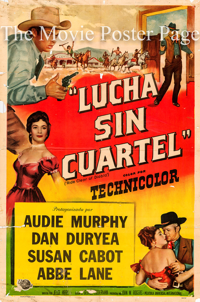 Pictured is a Spanish promotional poster for the 1954 Jesse Hibbs film Ride Clear of Diablo starring Audie Murphy as Clay O'Mara.