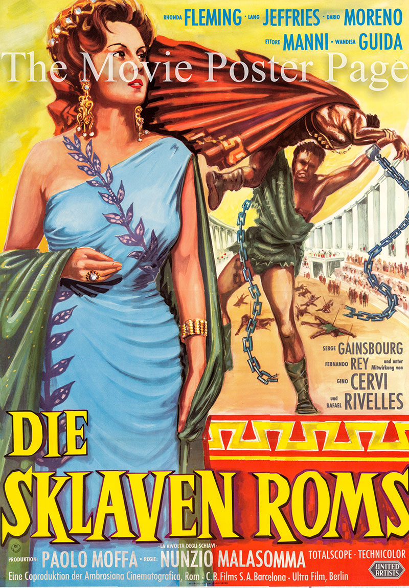 Pictured is a German one-sheet poster for the 1960 Nunzio Malosomma film Revolt of the Slaves starring Rhonda Fleming as Fabiola.