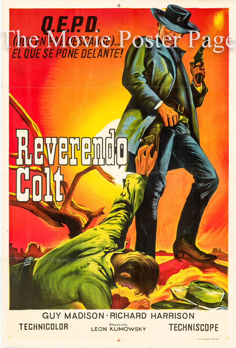 Pictured is a Spanish one-sheet poster for the 1970 Leon Klimowsky film Reverend's Colt starring Guy Madison as Reverend Miller.