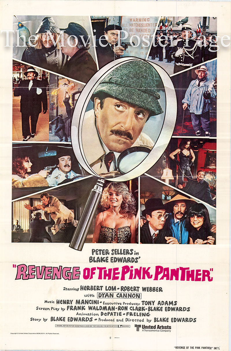 Pictured is an international one-sheet poster for the 1978 Blake Edwards film Revenge of the Pink Panther starring Peter Sellers as Chief Inspector Jacques Clouseau.