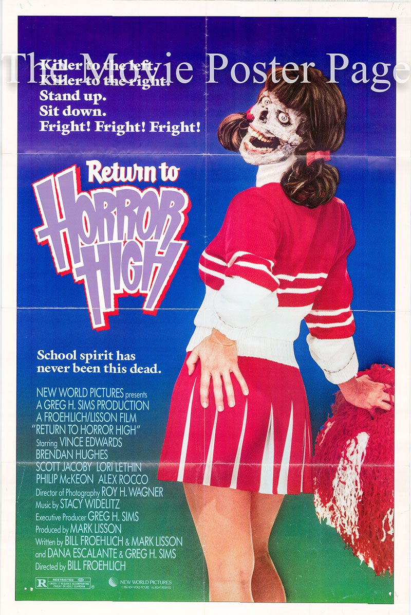 Pictured is a US one-sheet poster for the 186 Bill Froelich film Return to Horror High starring Lori Lethin as Callie Cassidy.