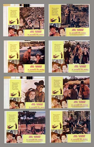Pictured is a Spanish lobby card set for the 1975 Stuart Millar film Rooster Cogburn, starring John Wayne and Katherine Hepburn.