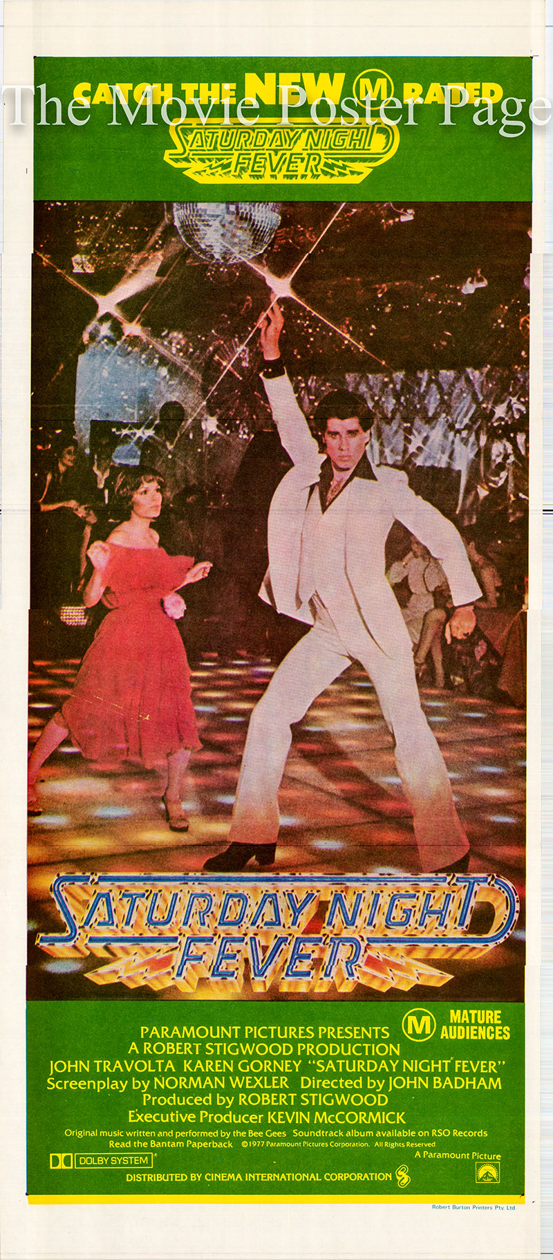 Pictured is an Australian daybill poster for the 1977 John Badham film Saturday Night Fever starring John Travolta as Tony Manero.