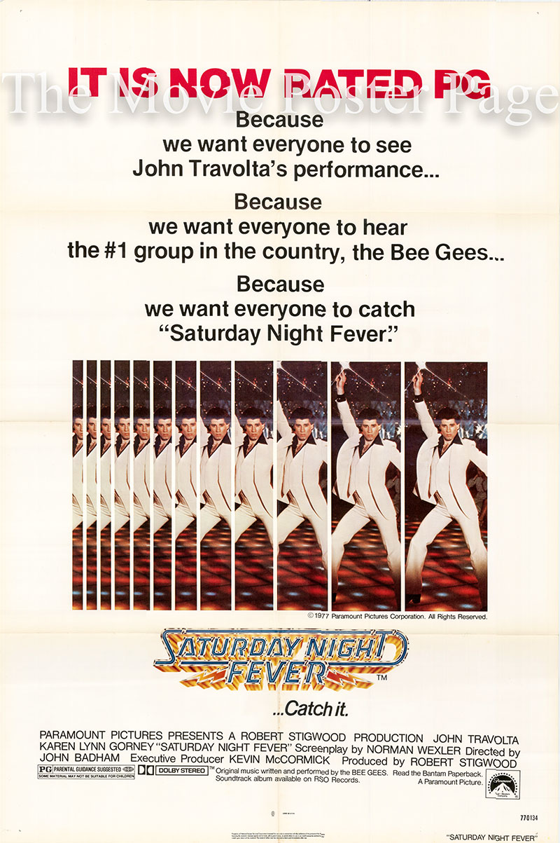 Pictured is a US pg-rated one-sheet poster for the 1977 John Badham film Saturday Night Fever starring John Travolta as Tony Manero.