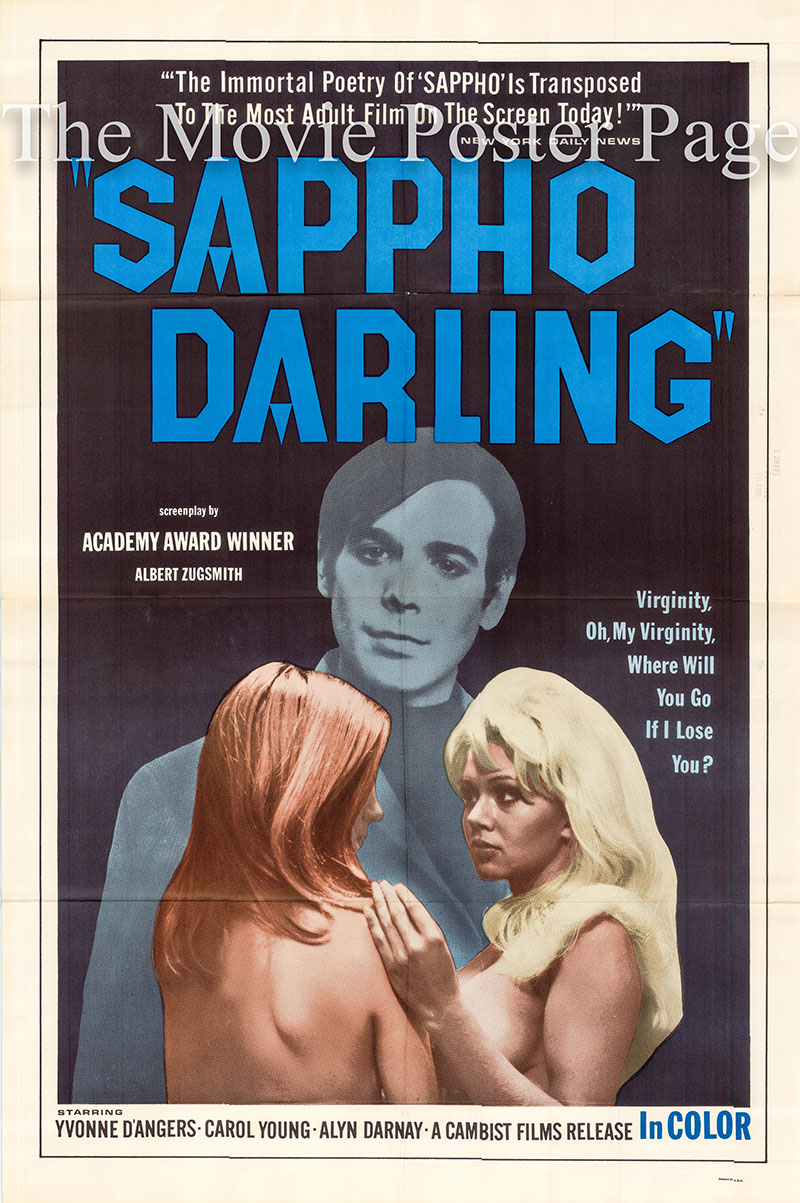 Pictured is a US one-sheet poster for the 1968 Gunnar Steele film Sappho Darling starring Carol Young as Sappho Anderson.