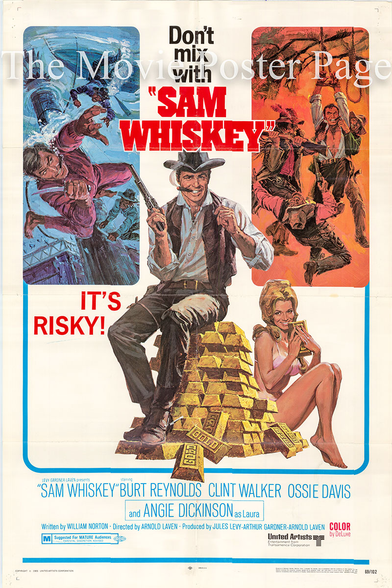Pictured is a US one-sheet poster for the 1969 Arnold Laven film Sam Whiskey starring Burt Reynolds as Sam Whiskey.