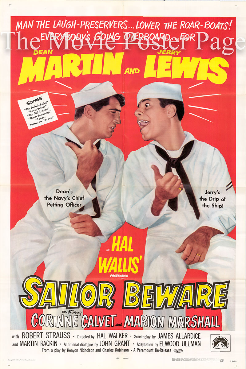 Pictured is a US one-sheet poster for a 1968 rerelease of the 1952 Hal Walker film Sailor Beware starring Dean Martin and Jerry Lewis.