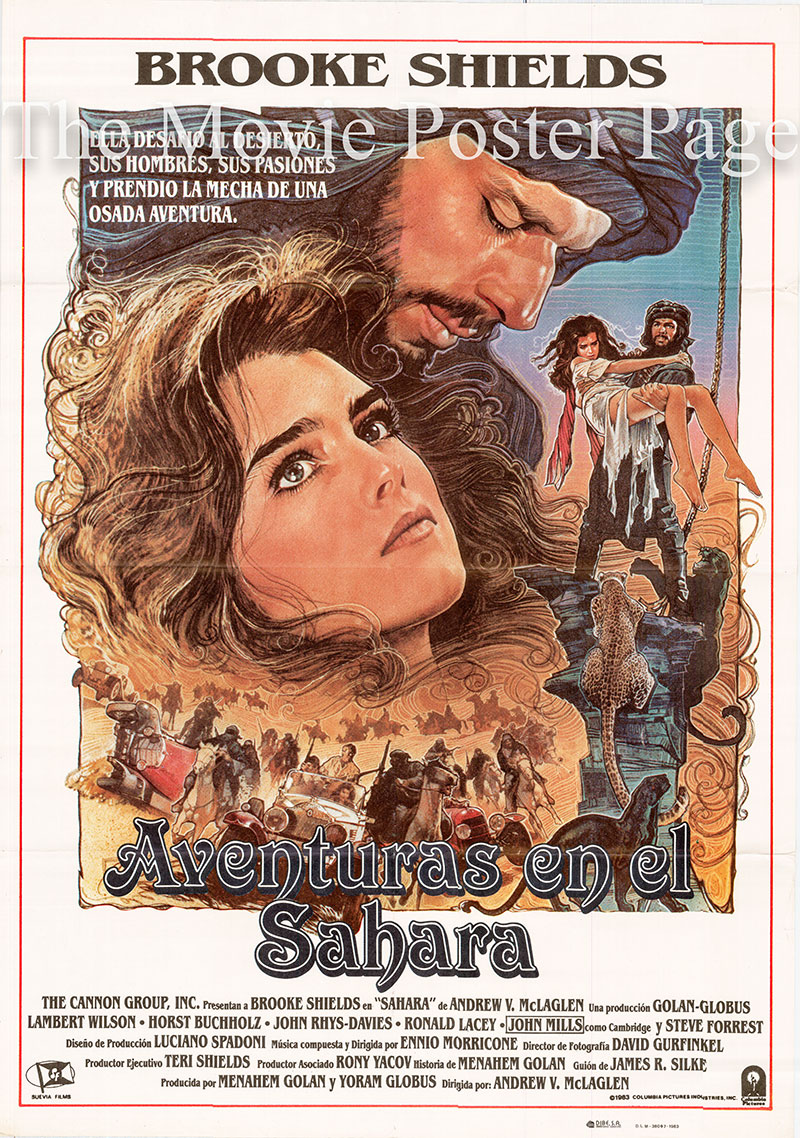 Pictured is a Spanish one-sheet poster for the 1983 Andrew V. McLaglen film Sahara starring Brooke Shields as Dale.