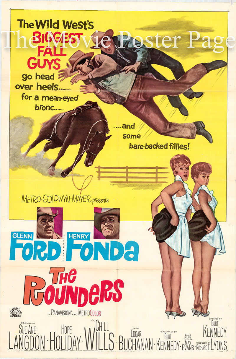 Pictured is a US one-sheet poster for the 1965 Burt Kennedy film The Rounders starring Glenn Ford as Ben Jones.