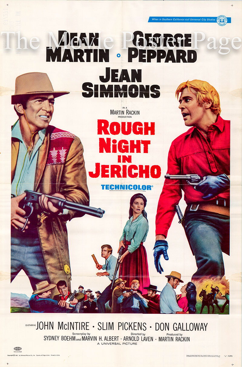 Pictured is a US one-sheet poster for the 1967 Arnold Laven film Rough Night in Jericho starring Dean Meatin as Alex Flood.