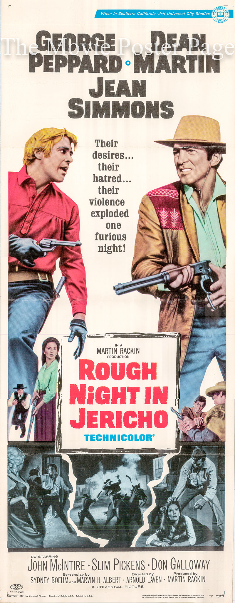 Pictured is a US insert poster for the 1967 Arnold Laven film Rough Night in Jericho starring Dean Martrtin as Alex Flood.