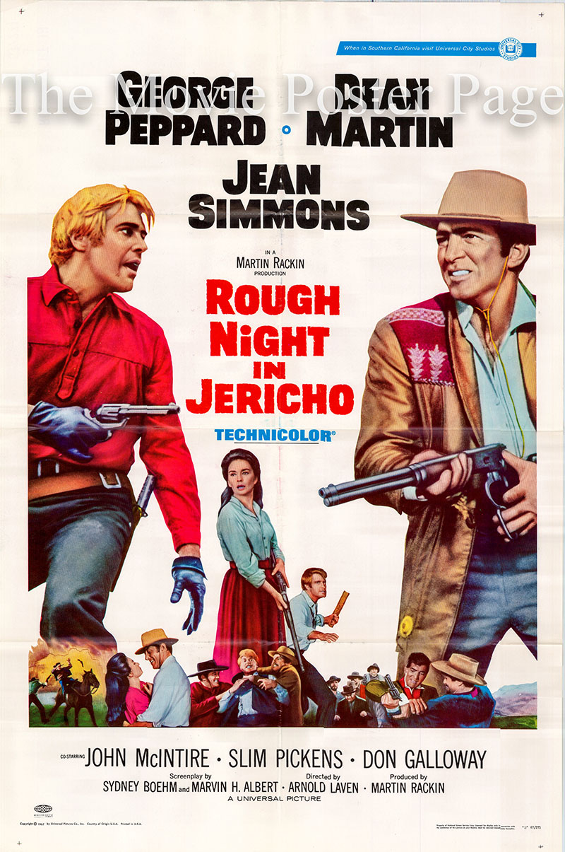 Pictured is a US one-shset  poster for the 1967 Arnold Laven film Rough Night in Jericho starring Dean Martrtin as Alex Flood.