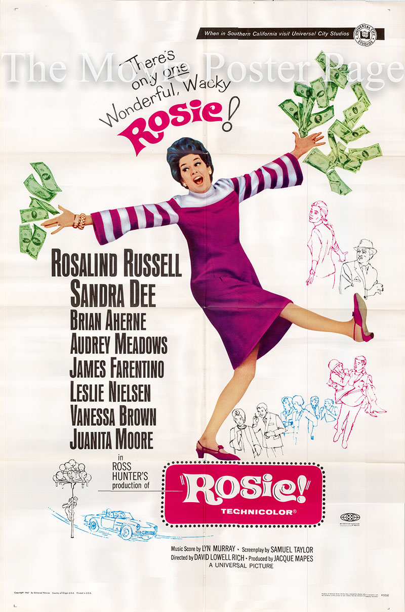 Pictured is a US one-sheet poster for the 1967 David Lowell Rich film Rosie starring Rosalind Russell as Rosie Lord.