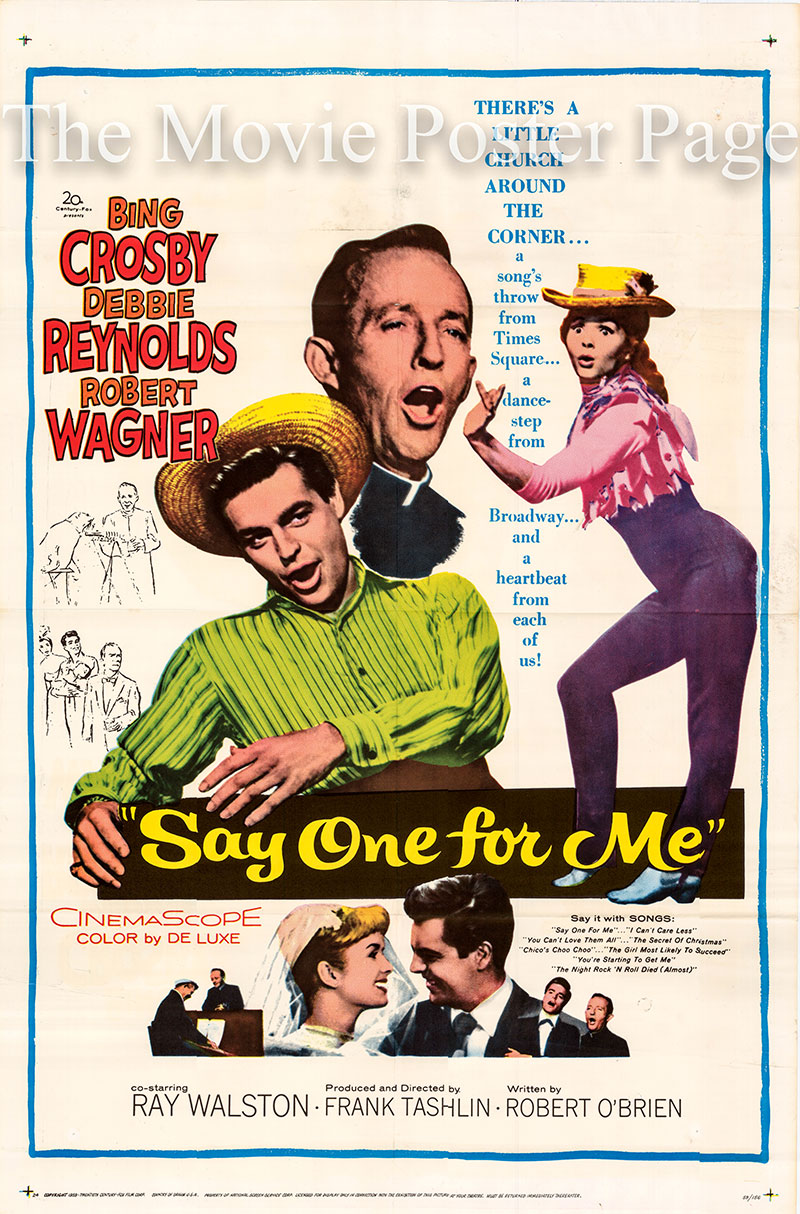 Pictured is a US one-sheet poster for the 1959 Frank Tashlin film Say One for Me starring Bing Crosby as Father Conroy.