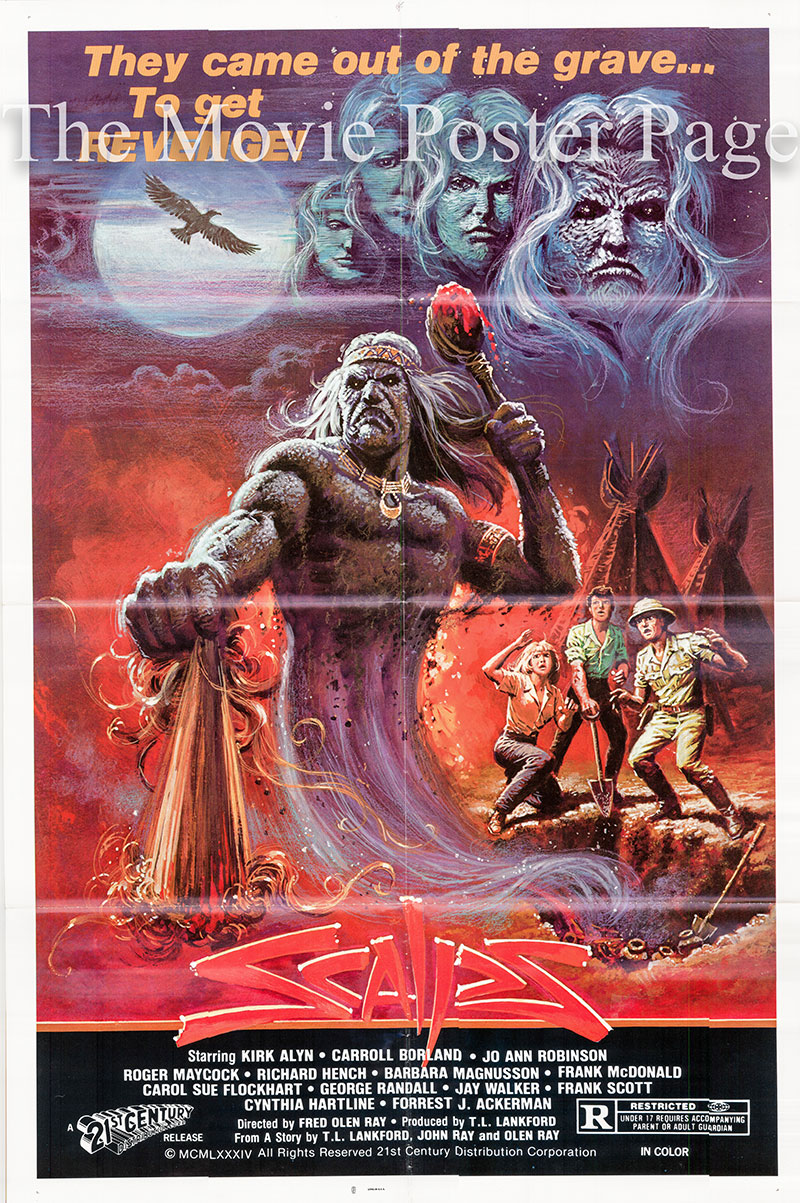 Pictured is a US one-sheet poster for the 1983 Fred Olen Ray film Scalps starring Kirk Alyn as Professor Machen.