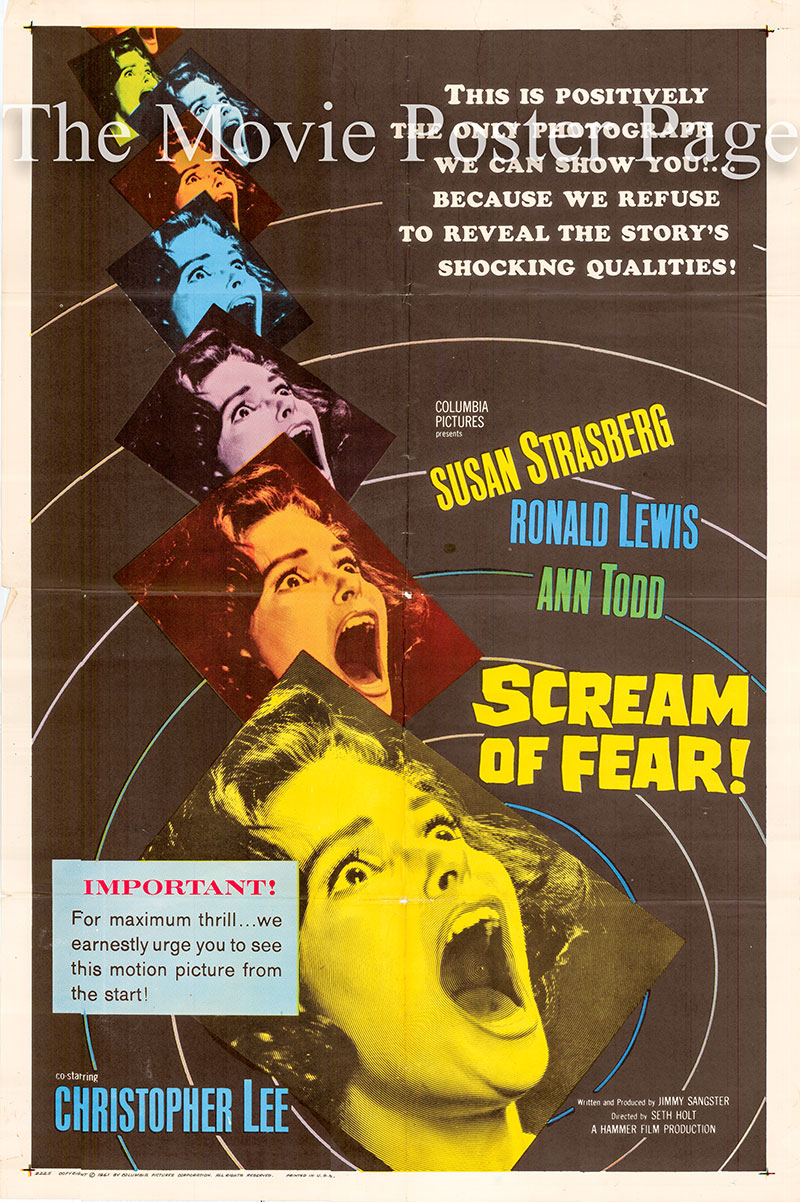 Pictured is a US one-sheet poster for the 1961 Seth Holt film Scream of Fear starring Chrisophter Lee as Doctor Pierre Gerrard.