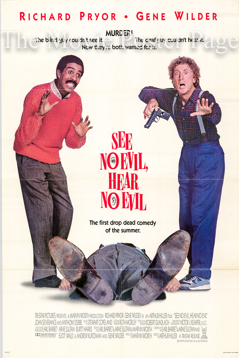 Pictured is a US one-sheet poster for the 1989 Arthur Hiller film See No Evil, Hear No Evil starring Richard Pryor as Wally Karue.