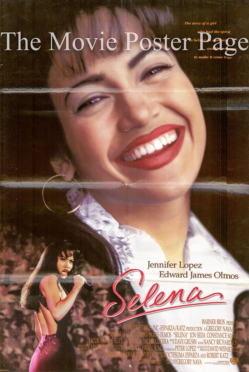 Pictured is a US one-sheet poster for the 1996 Gregory Nava film Selena starring Jennifer Lopez as Selena as Selena Quintanilla.