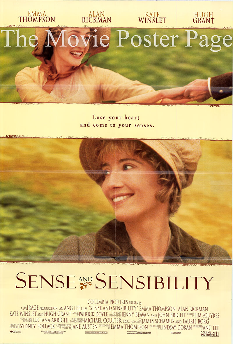 Pictured is a US one-sheet poster for the 1996 Ang Lee film Sense and Sensibility starring Emma Thompson as Elinor Dashwood.