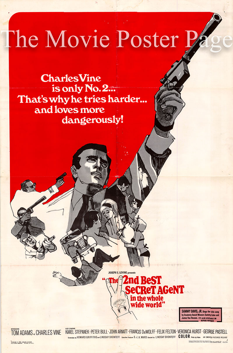 Pictured is a US one-sheet poster for the 1965 Lindsay Shonteff film The Second Best Secret Agent in the Whole Wide World starring Tom Adams as Charles Vine.