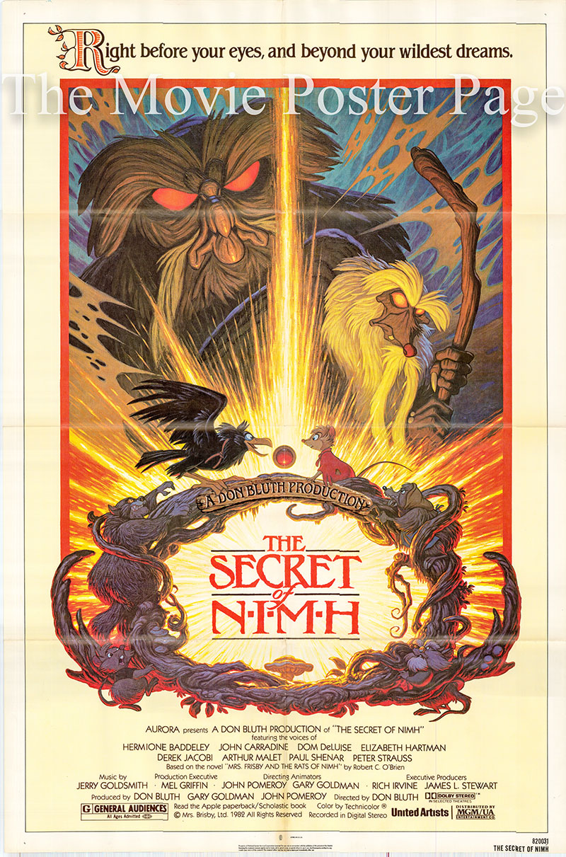 Pictured is a US one-sheet poster for the 1982 Don Bluth film The Secret of Nimh.