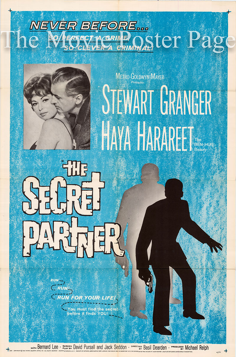 Pictured is a US one-sheet poster for the 1961 Basil Dearden film The Secret Partner starring Stewart Granger as John Brent.