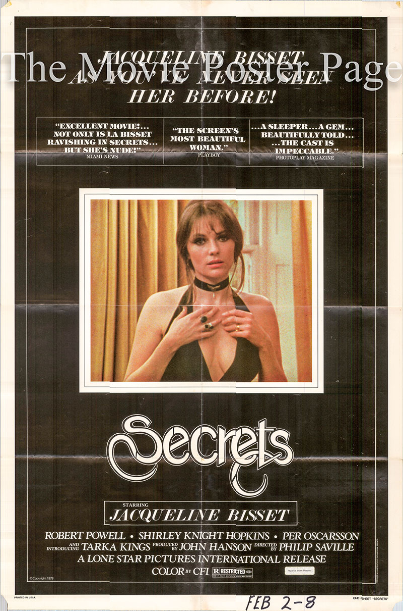 Pictured is a US one-shset poster for the 1971 Philip Saville film Secrets starring Jacqueline Bisset as Jennifer Wood.