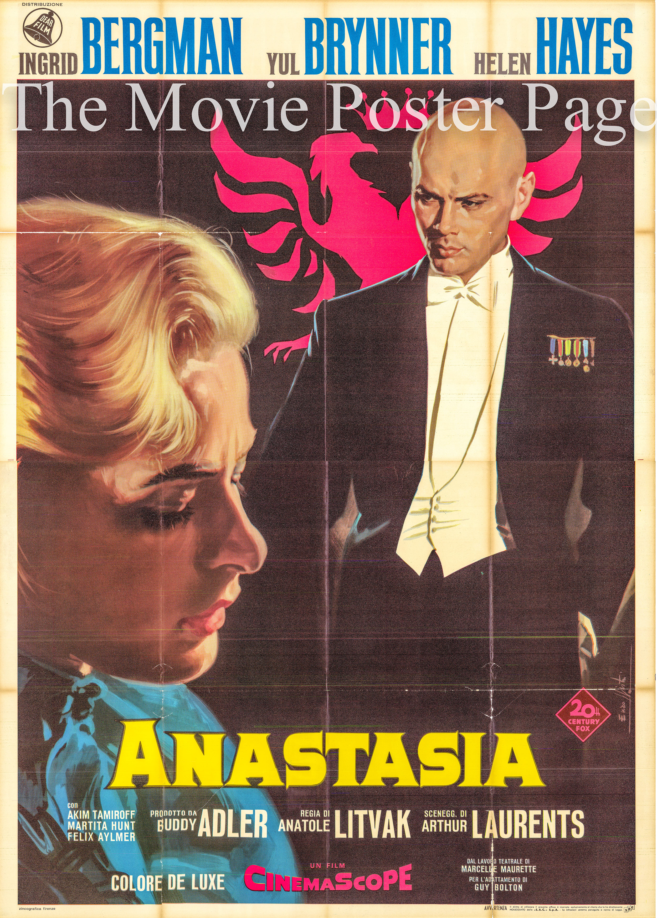 Pictured is and Italian four-sheet promotional poster for the 1956 Anatole Litvak film Anastasia starring Ingrid Bergman.