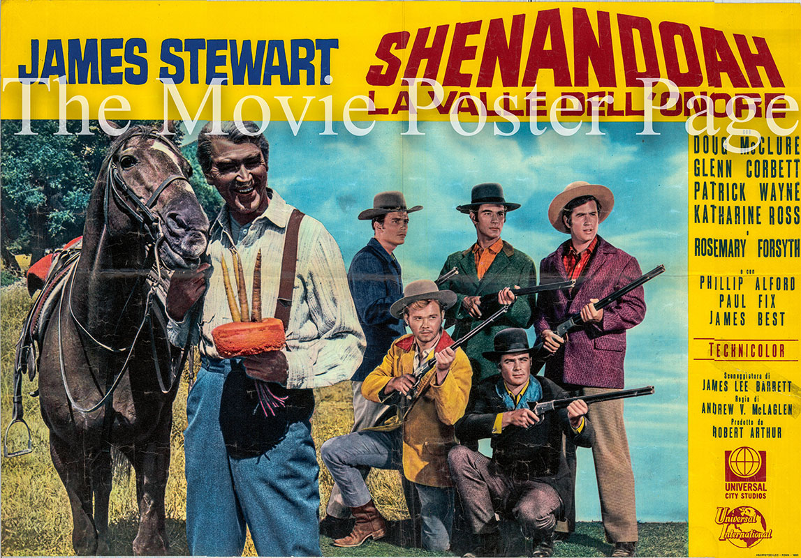 Pictured is an Italian fotobusta poster for the 1965 Andrew V. McLaglen film Shenandoah starring James Stewart as Charlie.