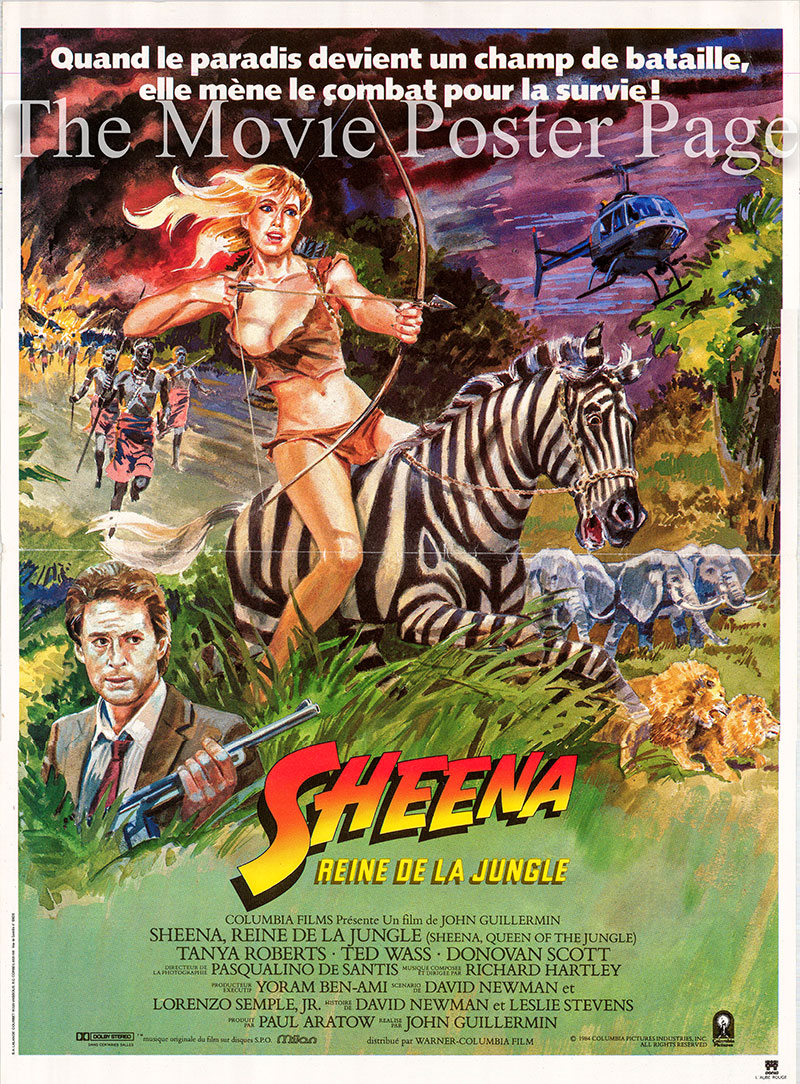 Pictured is a French mini poster for the 1984 John Guillermin film Sheena starring Tanya Roberts as Sheena.