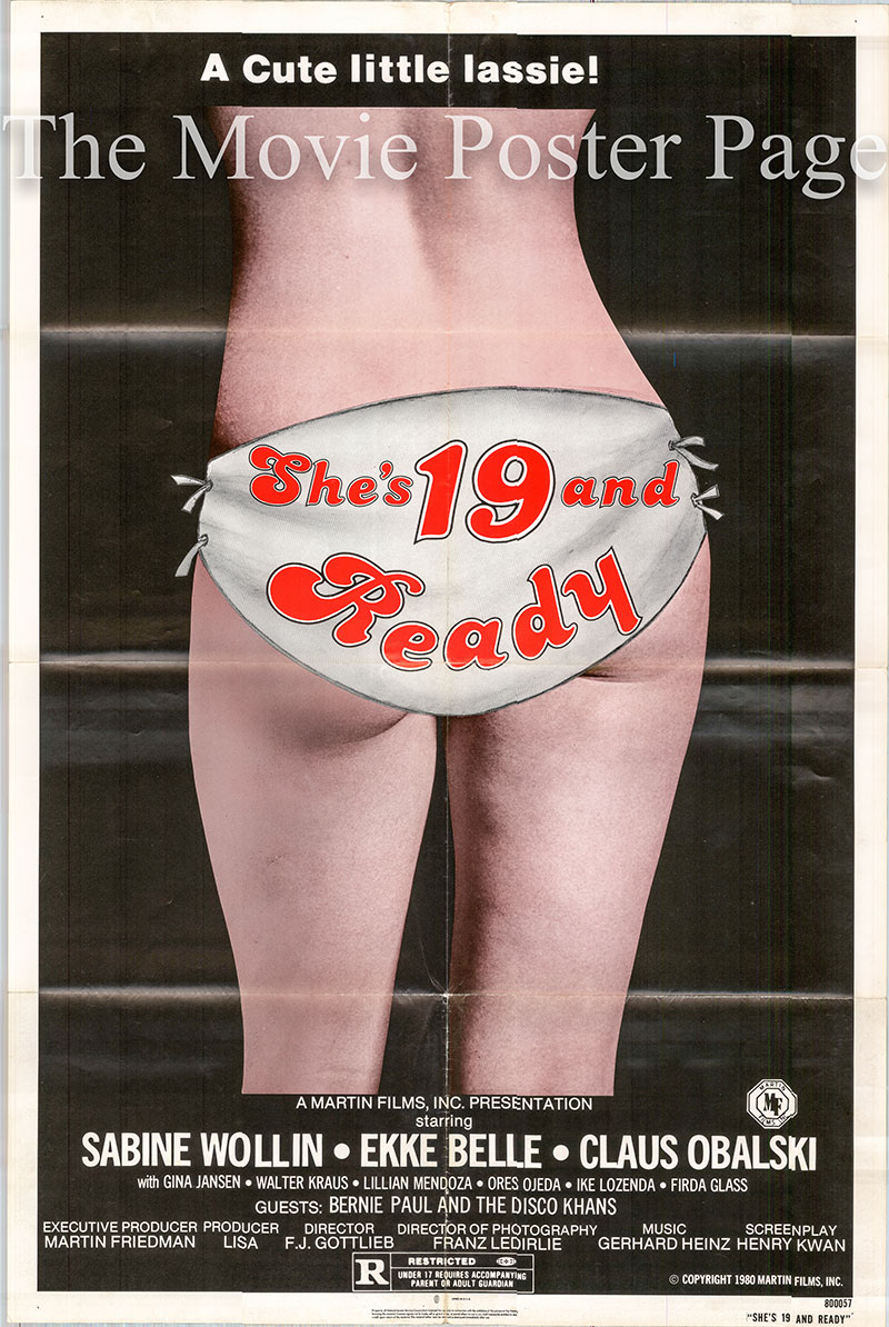 Pictured is a US one-sheet poster for the 1979 Franz Josef Gottlieb film She's 19 and Ready starring Sabine Wollin as Eva.