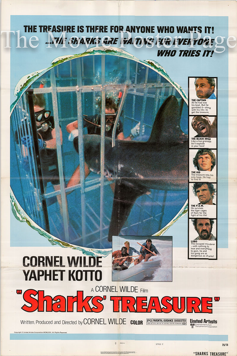Pictured is a US one-sheet poster for the 1975 Cornel Wilde film Sharks' Treasure starring Cornel Wilde as Jim Carnahan.