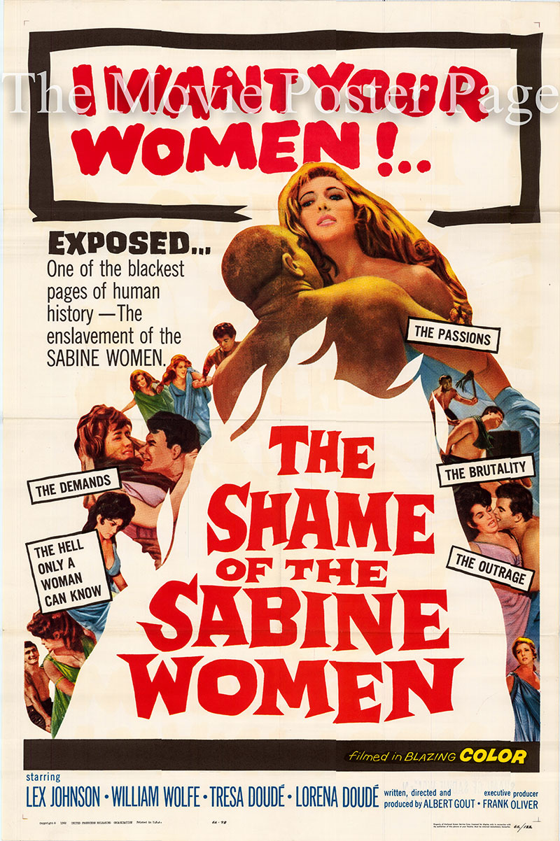 Pictured is a US one-sheet poster for the 1962 Alberto Gout film The Shame of the Sabine Women starring Lex Johnson as Hoster Hostilio.