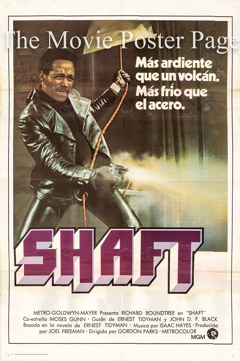 Pictured is a Spanish one-sheet poster for the 1971 Gordon Parks film Shaft starring Richard Roundtree as John Shaft.