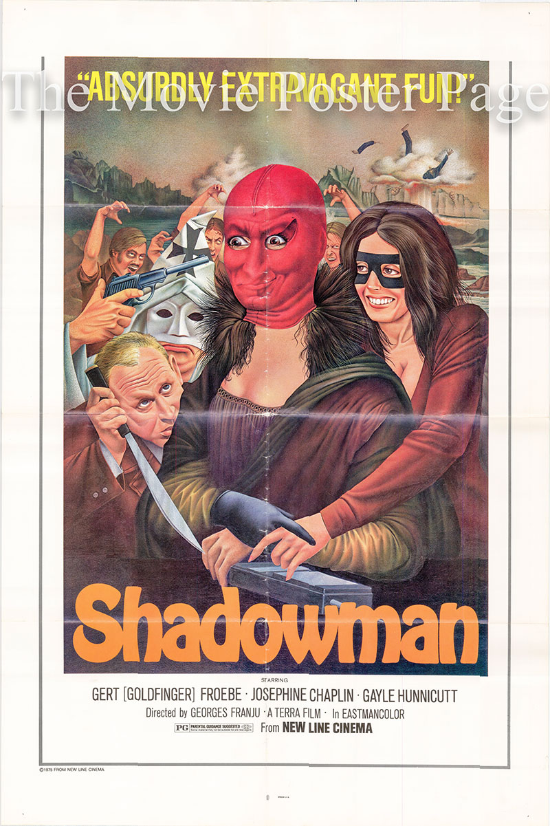 Pictured is a US one-sheet poster for the 1974 Georges Franju film Shadowman AKA Nuits Rouges starring Gayle Hunnicutt as La femme.