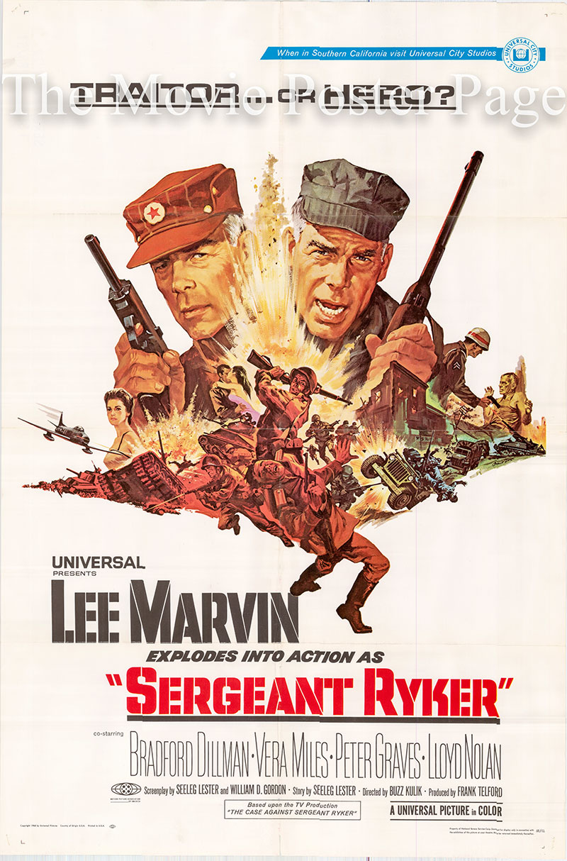 Pictured is a US one-sheet poster for the 1968 Buzz Kulik film Sergeant Ryker starring Lee Marvin as Sergeant Paul Ryker.
