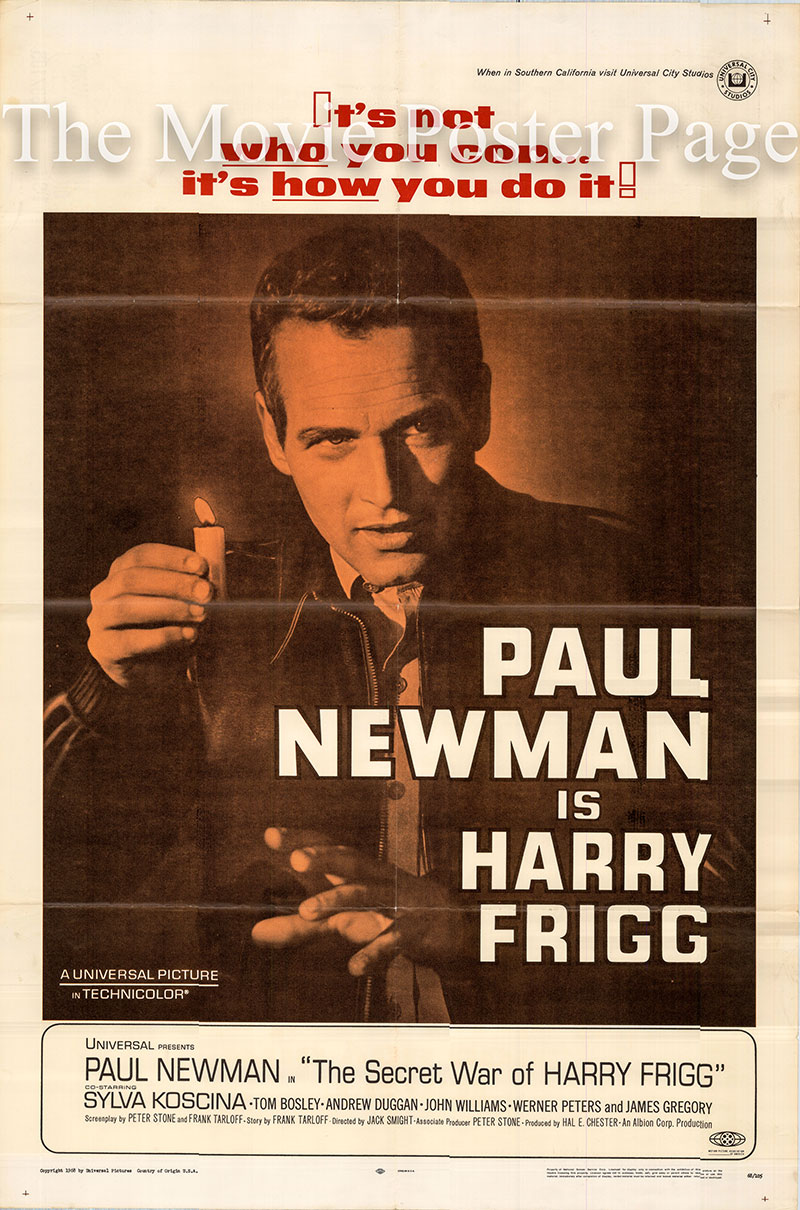 Pictured is a US one-sheet poster for the 1968 Harry Smight film The Secret War of Harry Frigg starring Paul Newman as Private Harry Frigg.