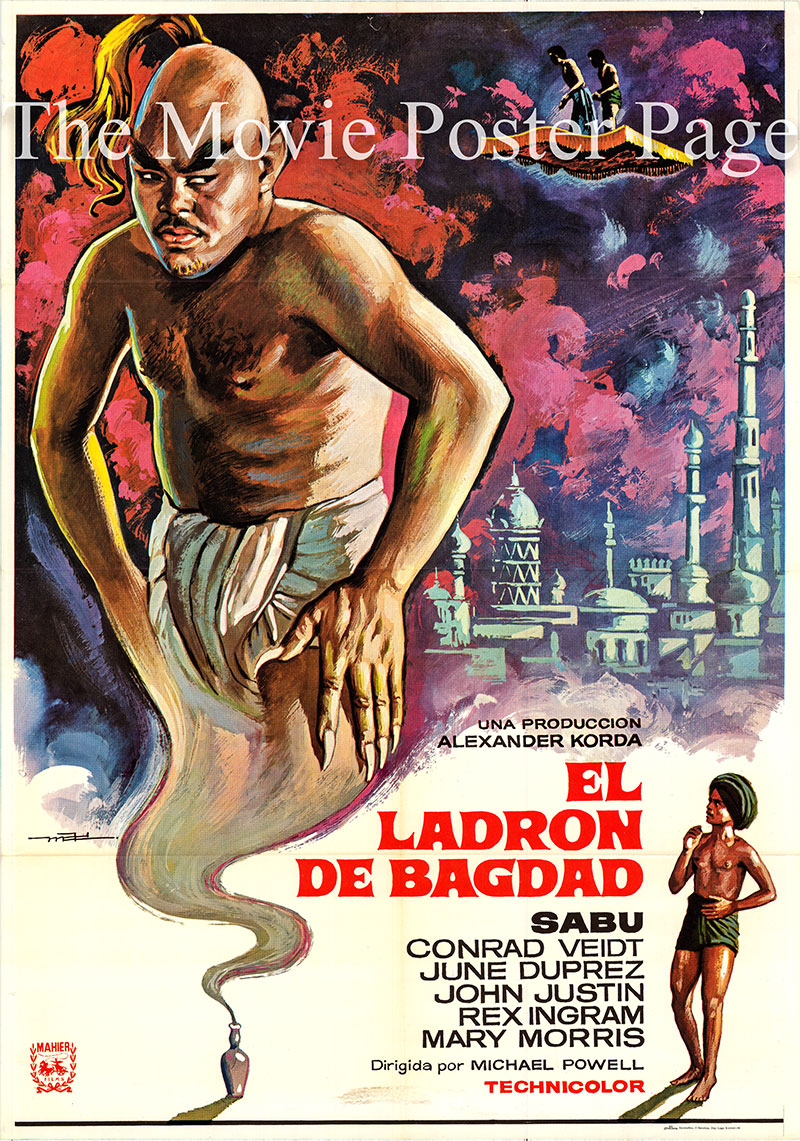 Pictured is a Spanish one-sheet poster for the 1940 Ludwig Berger and Michael Powell film The Thief of Bagdad starring Conrad Veidt as Jaffar.