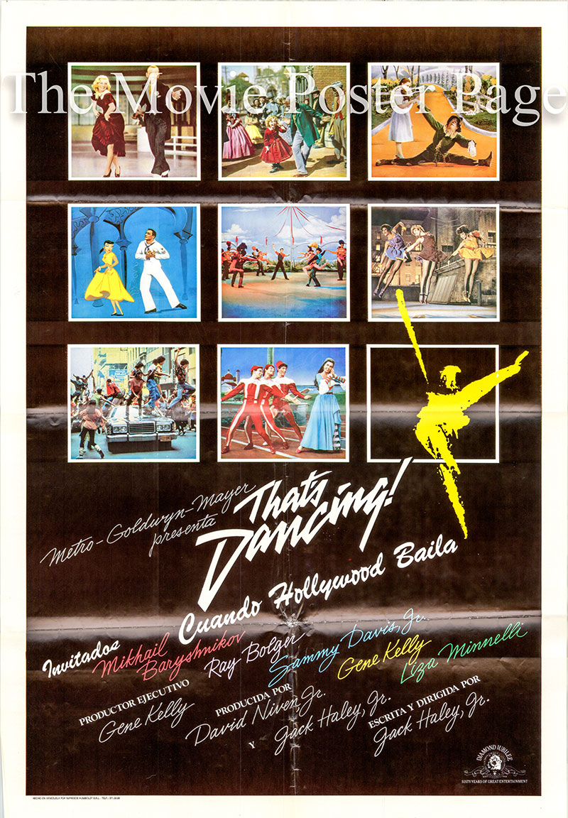 Pictured is a Spanish one-sheet poster for the 1985 Jack Haley Jr. film That's Dancing starring Michail Baryshnikov as himself.
