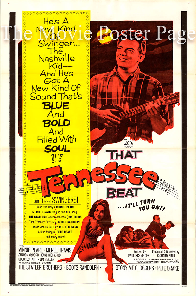 Pictured is a US one-sheet promotional poster for the 1966 Richard Brill film That Tennessee Beat starring Merle Travis.