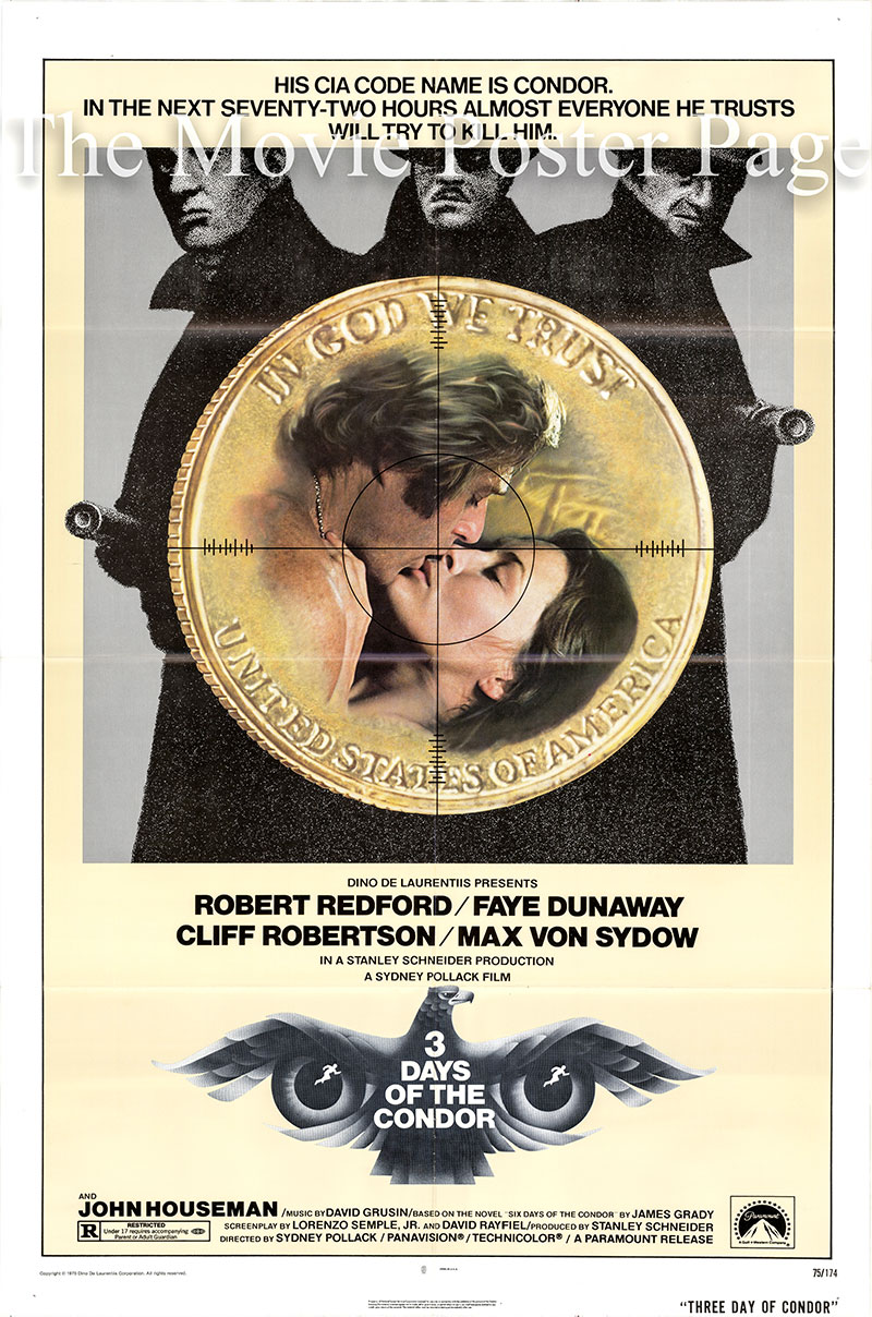 Pictured is a US one-sheet poster for the 1975 Sydney Pollack film Three Days of the Condor starring Robert Redford as Joseph Turner.