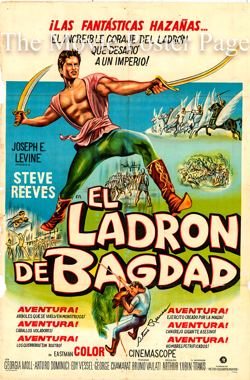 Pictured is an Argentine one-sheet poster for the 1961 Arthur Lubin and Bruno Vailati film The Thief of Baghdad starring Steve Reeves as Karim.