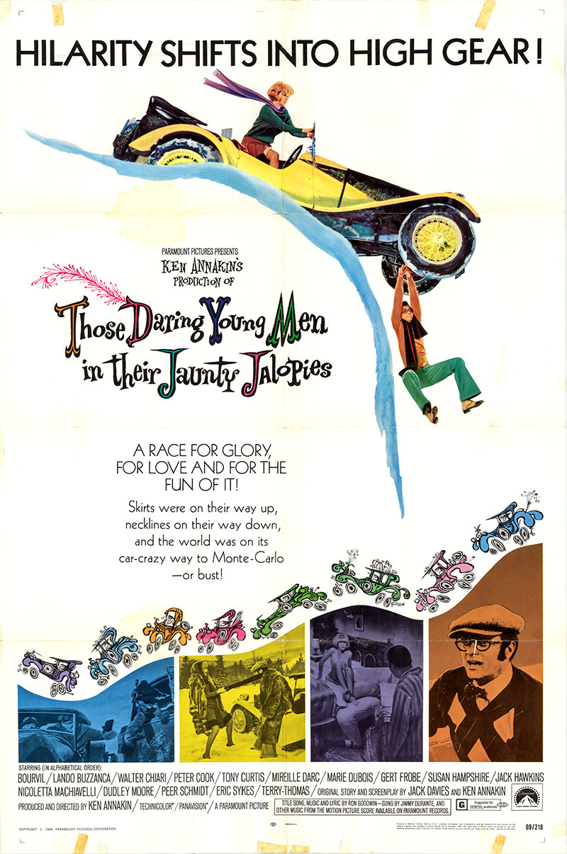 Pictured is a US one-sheet poster for the 1969 Kennakin and Sam Itzkovitch film Those Daring Young Men in Their Jaunty Jalopies.