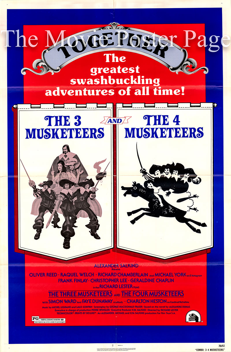 Pictured is a combo us one-sheet for the films The Three Musketeers and The Four Musketeers.