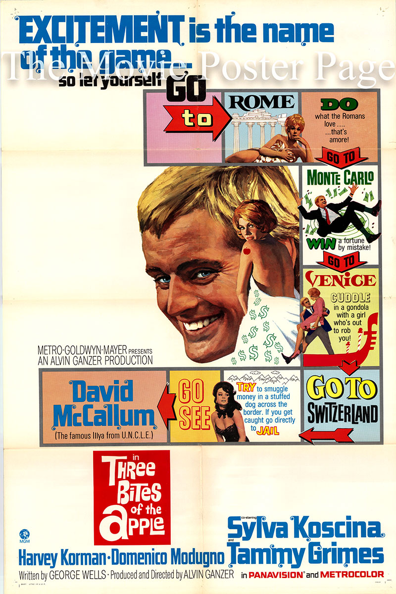 Pictured is a US one-sheet poster for the 1967 Alvin Ganzer film Three Bites of the Apple starring David McCallum as Stanley Thrumm.