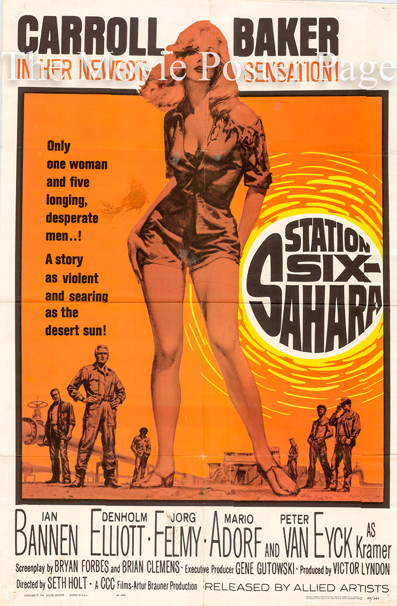 Picture is a US one-sheet poster for the 1964 Seth Holt film Station Six-Sahara starring Carroll Baker as Catherine
