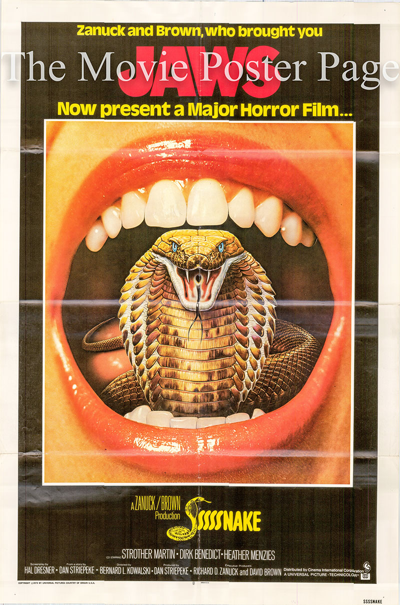 Pictured is a US one-sheet poster for the 1973 Bernard L. Kowalski film Ssssnake starring Strother Martin as Dr. Carl Stoner.