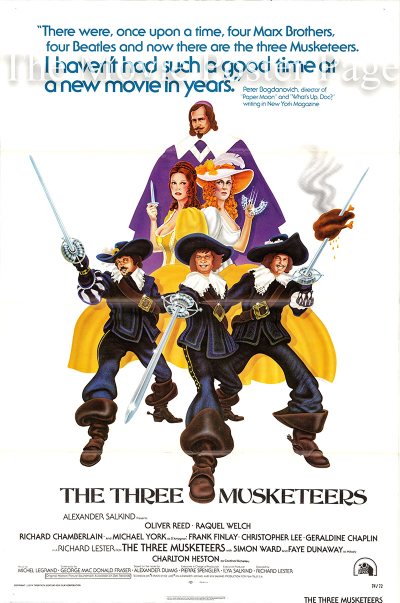 Pictured is a US one-sheet poster for the 1973 Richard Lester film The Three Musketeers starring Oliver Reed as Athos.