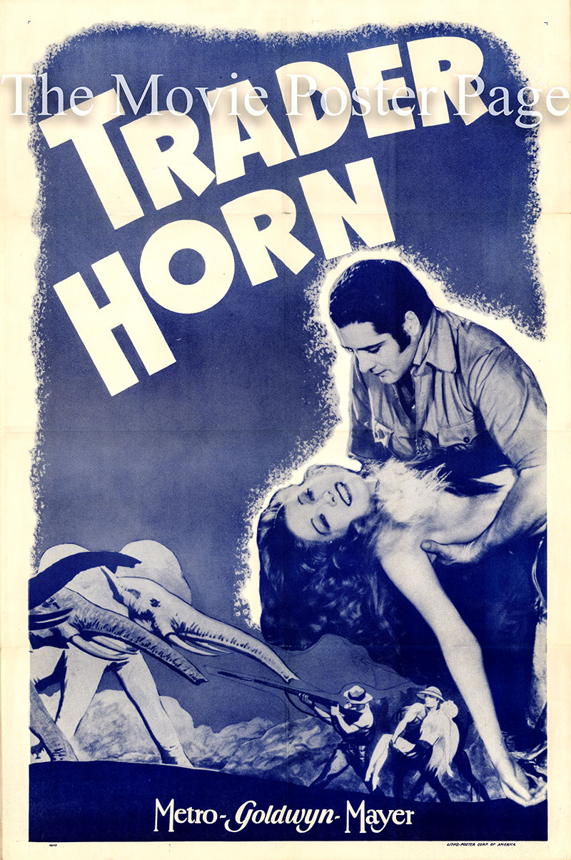 Pictured is a US one-sheet for an undated rerelease of the 1931 W.S. Van Dyke film Trader Horn starring Harry Carey as Aloysius Horn.