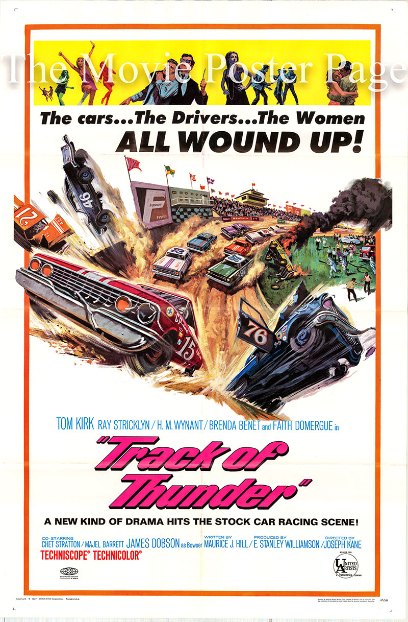 Pictured is a US one-sheet poster for the 1967 Joseph Kane film Track of Thunder starring Tommy Kirk as Bobby Goodwin.